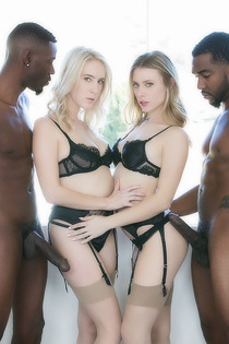 Cadence Lux And Anya Olsen Pleasuring Two Black Males